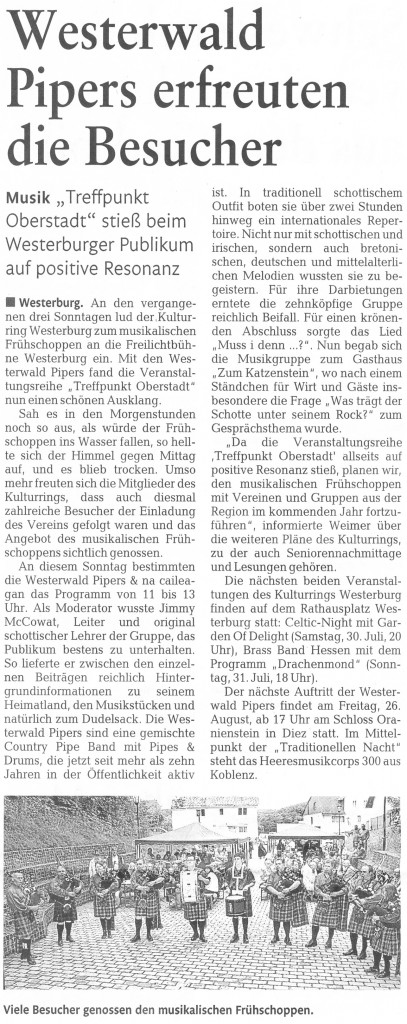 Westerburg Kultur (Westerwälder Zeitung 17.07.2011)